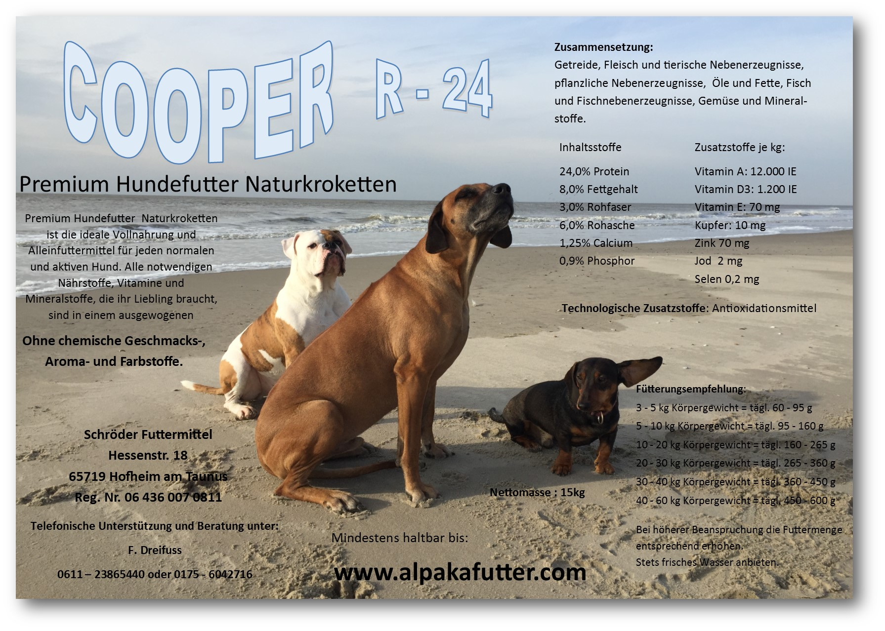cooper r24 premium hundefutter naturkroketten 15 kg hundefutter heimtiere. Black Bedroom Furniture Sets. Home Design Ideas