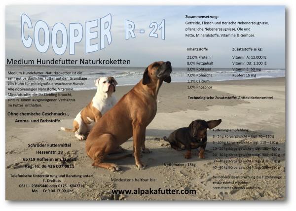 COOPER-R21 - Medium Hundefutter Naturkrokette 15 kg